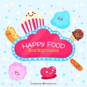 Happy food background with cute cartoons