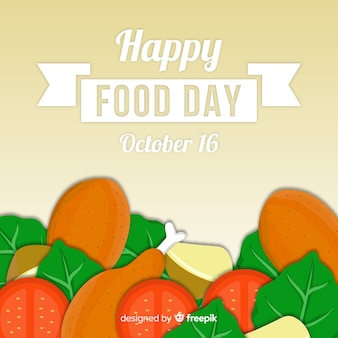 Happy food day worldwide with veggies and meat