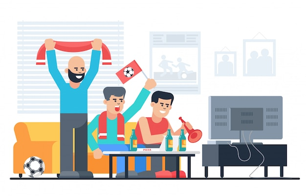 Happy football fans in apartaments flat vector illustration