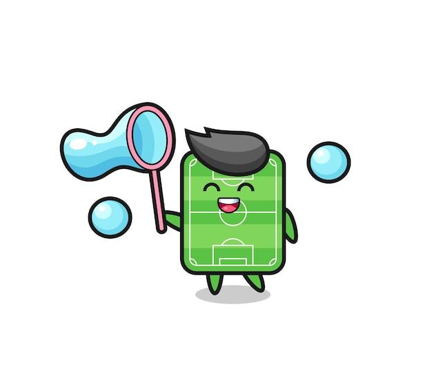 Счастливый футбольное поле, мультфильм, играющий в мыльный пузырь, милый стильный дизайн для футболки, стикер, элемент логотипа