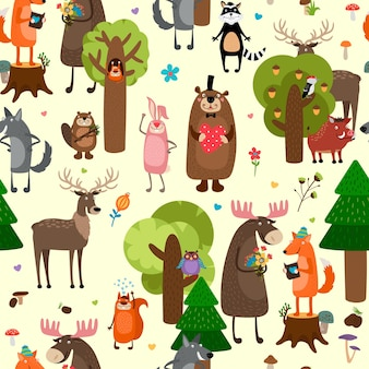 Happy forest animals seamless pattern background.