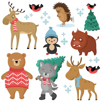 Happy forest animals in winter and christmas trees isolated on white background vector set