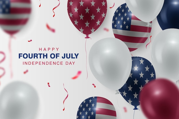 Happy fourth of july background with the realistic balloon