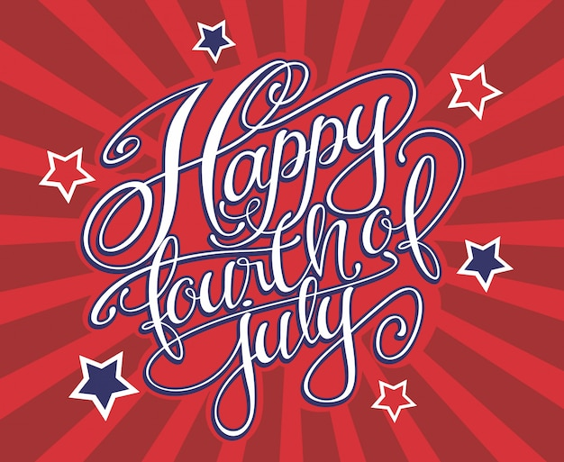 Happy fourth of july lettering