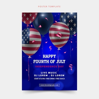 Happy fourth of july poster background with the realistic balloon