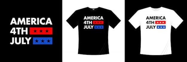 7月のアメリカのタイポグラフィtシャツデザインの幸せな4番目