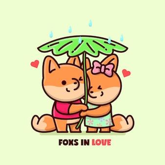 Happy fox пара убежища от дождя с большим листом