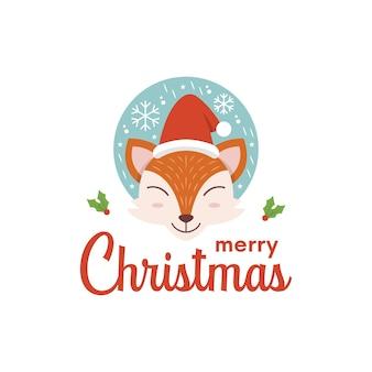 Happy fox face рождественский дизайн логотипа