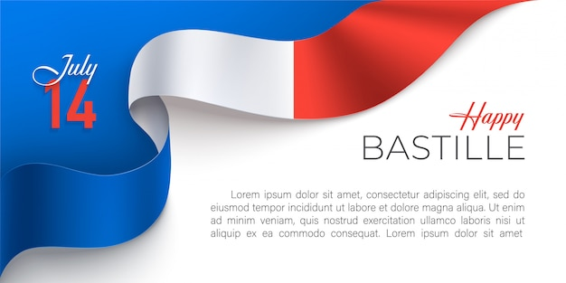 Happy france bastille day horizontal banner