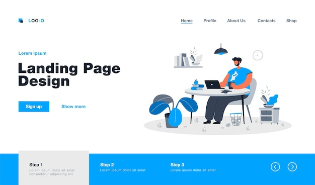 Happy freelance worker sitting at table landing page in flat style