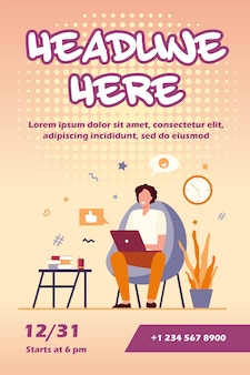 Happy freelancer with computer at home flyer template
