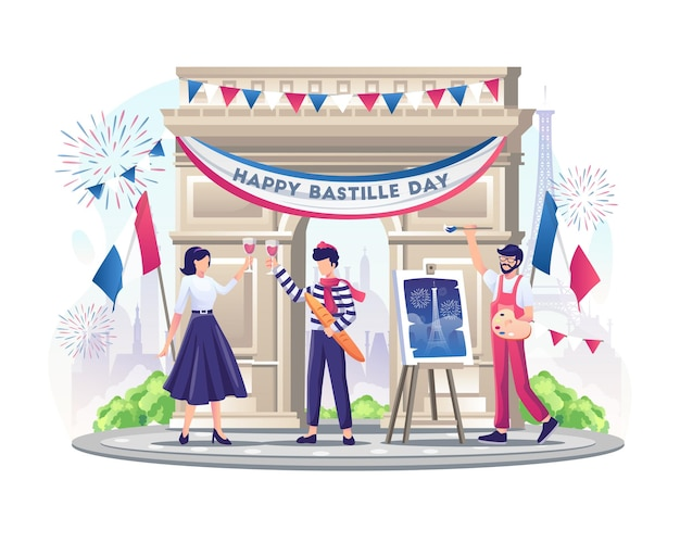 Happy french couple and painter celebrate bastille day on 14th july illustration
