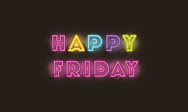 Happy friday fonts neon lights