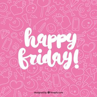 Happy friday pink background with scribbles
