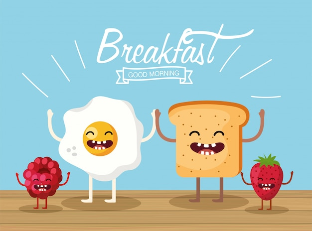 Happy fried egg with sliced bread and fruits