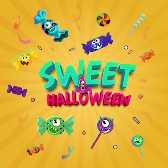 Happy and friendly sweet characters halloween