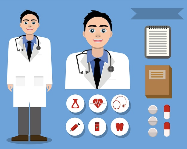 Happy friendly white doctor and set of medical design icons