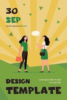 Happy friendly women talking outside. female friends accidental meeting flat flyer template