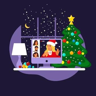 Счастливые друзья празднуют рождество и новый год. домашняя онлайн-вечеринка.