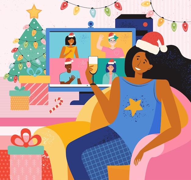 幸せな友達はクリスマスと新年を祝います