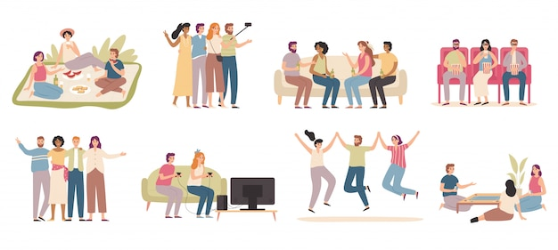 Happy friends. friendly people spend time together, friend playing game and talking with friends   illustration set
