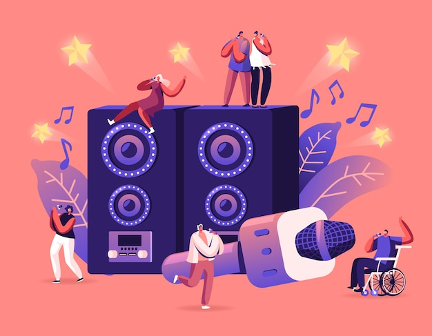 Счастливые друзья весело поют в караоке-баре или ночном клубе. мультфильм плоский иллюстрация