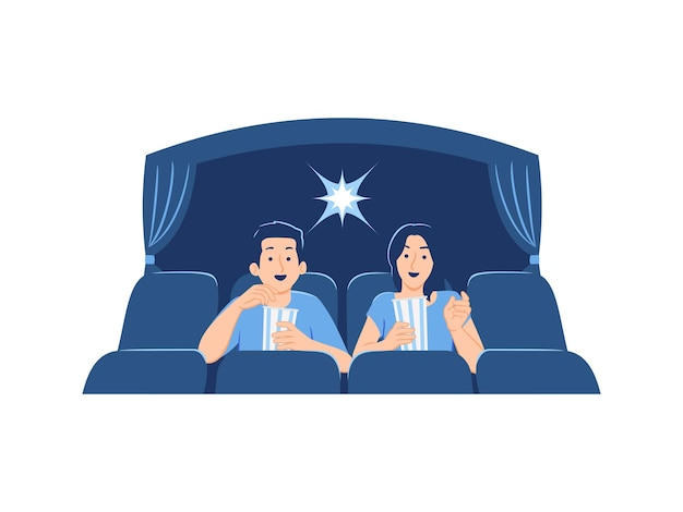 Счастливые друзья мужская женская пара смотрят фильм и едят попкорн в кинотеатре или иллюстрации концепции кинотеатра