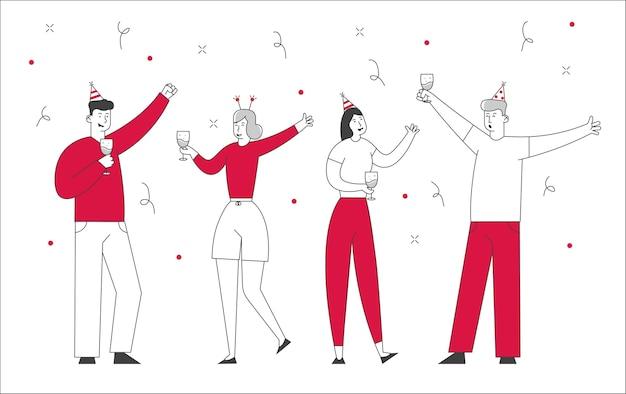 Счастливые друзья или коллеги команда бизнес-менеджеров празднует праздник в офисе.