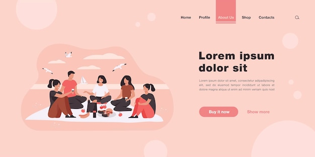 Happy friends sitting on beach, eating and drinking wine landing page in flat style