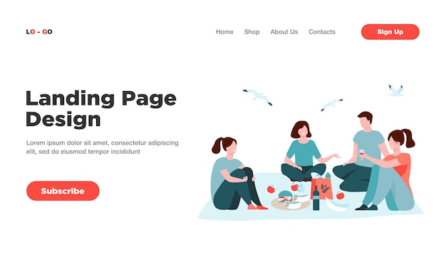 Happy friends sitting on beach, eating and drinking wine landing page