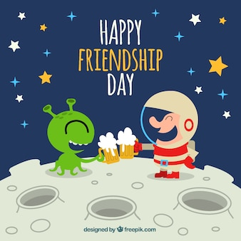 Happy friendship background with alien and astronaut