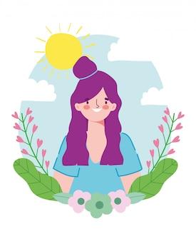 幸せな友情の日、美しい女性の漫画のキャラクターの特別なイベントのお祝い