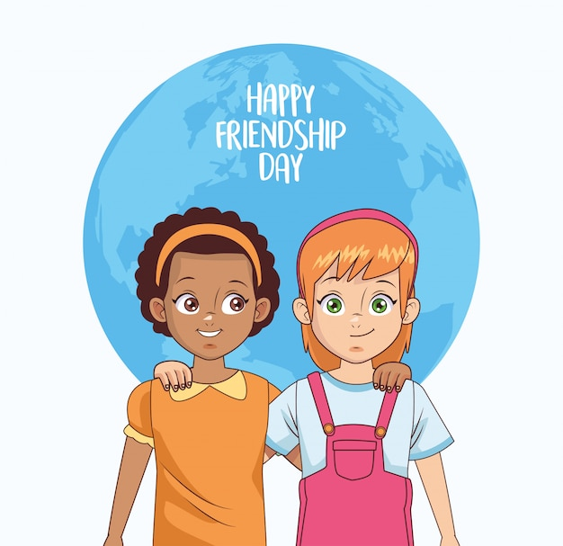 Happy friendship day celebration with girls couple