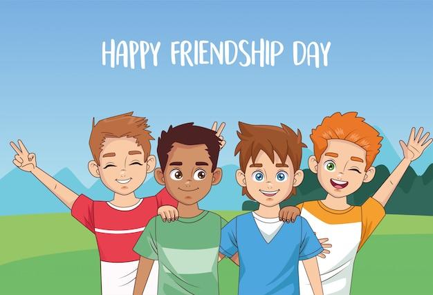 공원에서 소년의 그룹과 행복한 우정의 날 축하