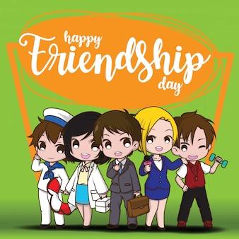 Happy friendship day., children in job suit., job concept.
