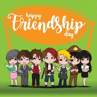 Happy friendship day, children in job suit
