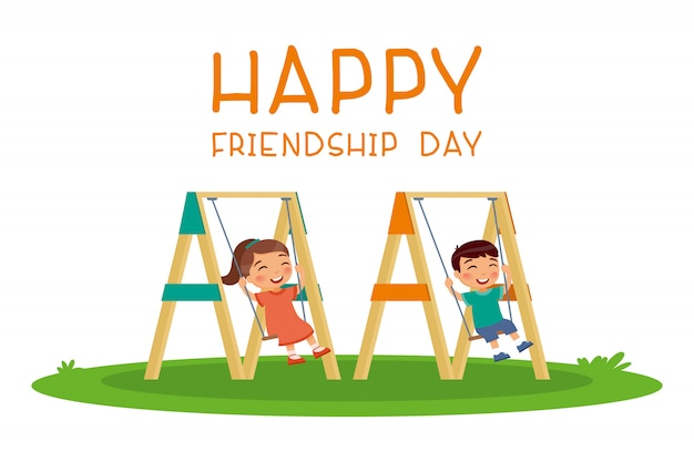 Happy friendship day. cute little boy and girl swinging on swing in public park or kindergarten playground.  happy school or preschool kids friends playing together outside. funny cartoon character.