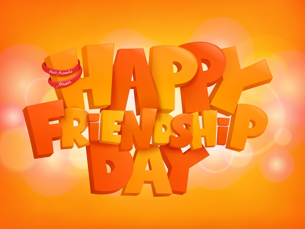 Happy friendship day design text elements on shiny background.