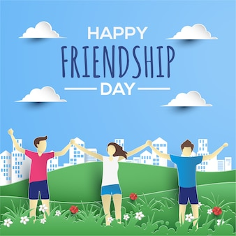 Happy friendship day flat paperstyle greeting card
