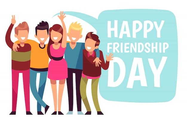 幸せな友情日。友達グループは恋にハグします。フレンドリーな10代のカード