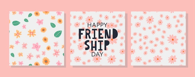 Happy friendship day greeting card for poster flyer banner for website template cards posters logo v...