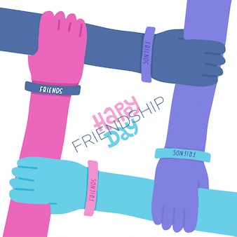 Happy friendship day greeting card with lettering quote Premium Vector