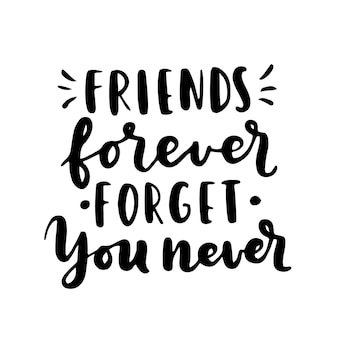 Happy friendship day hand lettering. best friends forever. greeting card typography template.