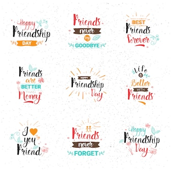 Happy friendship day logo set greeting cards collection friends holiday banner