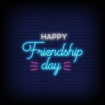 Happy friendship day neon signs style