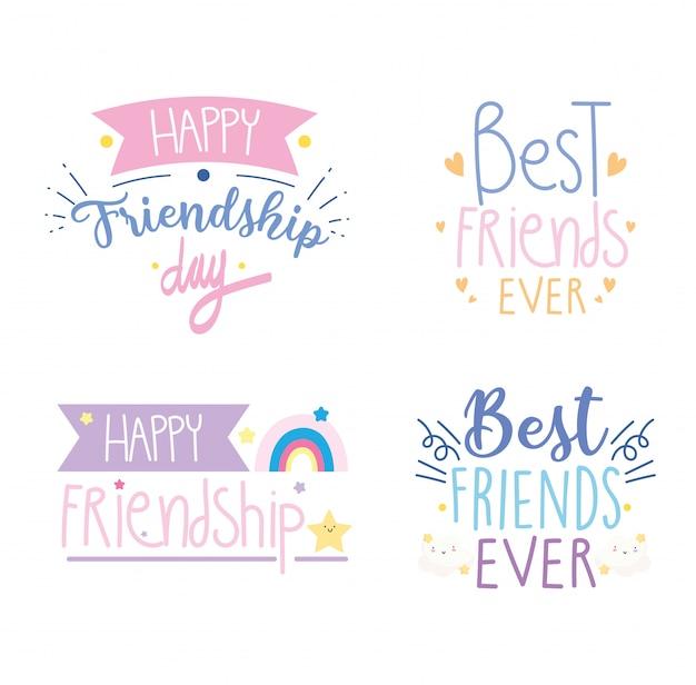 С днем дружбы, празднование особых событий, шаблон каллиграфии поздравительных открыток