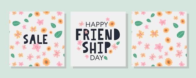 Счастливый день дружбы летний узор цветы поздравительная открытка для плаката флаер баннер для веб-сайта