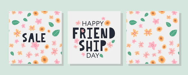 Happy friendship day summer pattern flowers greeting card for poster flyer banner for website