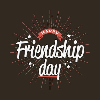 Happy friendship day - template for greeting card, logo, poster, banner. vector illustration.
