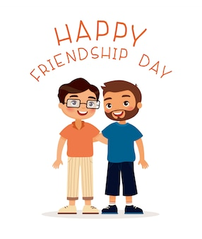 Happy friendship day. two young guys hugging.